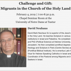 EVENT: Discussion with Fr. David Neuhaus about Migrants in Church of Holy Land