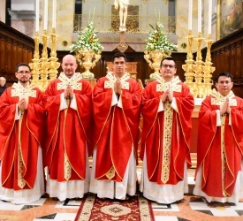Five Franciscan deacons receive priestly ordination at St. Saviour