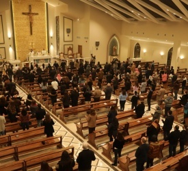 Jubeiha parishioners enjoy at last newly completed St. Paul the Apostle Church