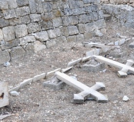 27 tombstone crosses vandalized for 2nd time in Salesian cemetery west of Jerusalem