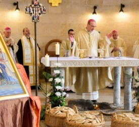 Feast of the Multiplication of Loaves and Fishes celebrated in Tabgha