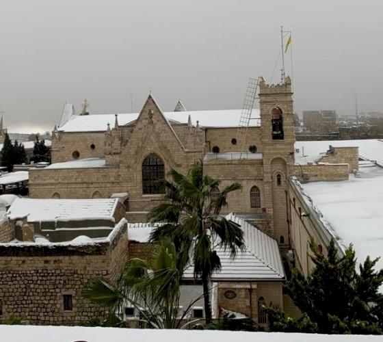 Ecco la Terra Santa sotto la neve