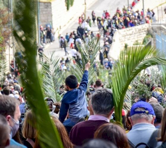 Palm Sunday celebrations go on despite major absence of Palestinian Christians and pilgrims