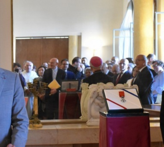 Bishop Shomali honored with knight medal of the Legion of Honor in Jerusalem