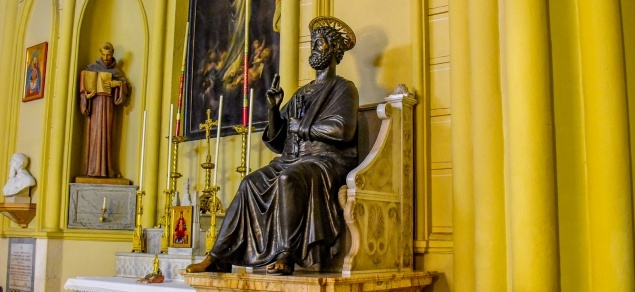 Rarity: exact replica of Vatican Statue of St. Peter in Co-Cathedral of Latin Patriarchate
