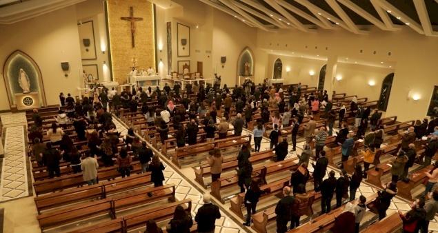 Jubeiha parishioners enjoy at last newly completed St. Paul the Apostle Church